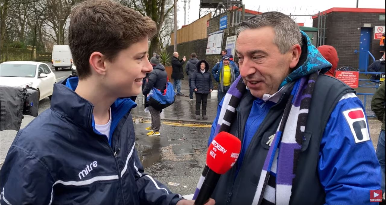 Max Hayes of Matchday with Max at the Emirates FA Cup third round match interviewing football fans for Mitre.