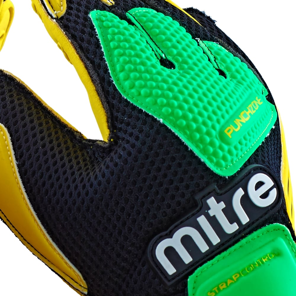 Mitre Delta BRZ Goalkeeper Gloves Yellow//Green//Black Size 7
